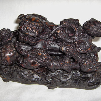Detailed Chinese Foo Dog With 8 Puppies & Ball Carved Stained Resin Figurine - Asian