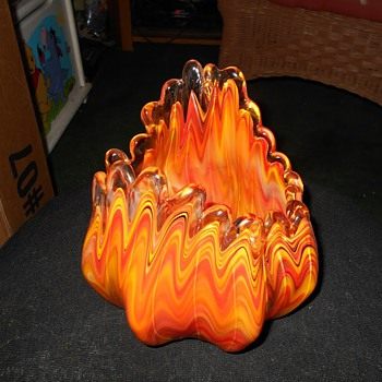 "Murano? Blown Cased Art Glass Stunning ""Fire"" Vase or Bowl Unique"