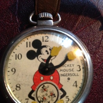 1933 Ingersoll Mickey Mouse Pocket Watch With Original Fob - Pocket Watches