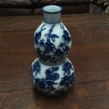 Rare Chinese Small Vase with Cherry Blossoms White and Blue