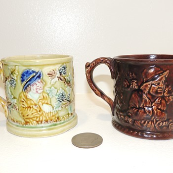 Frog Surprise Mugs - Yellowware, mid-late 19th century - Possibly Baltimore Pottery - Art Pottery