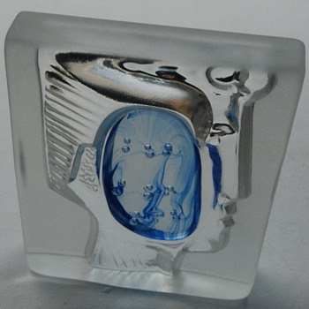 Mystery Intaglio face with central blue section - Art Glass