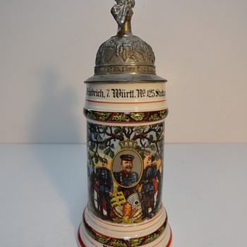 "Imperial German Reservist's beer stein depicting the Schutenliesel (the ""Target Girl"" - Breweriana"