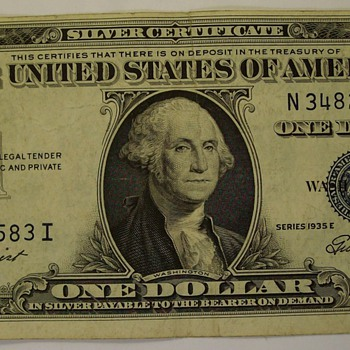 $1.00 Blue Seal Silver Certificates dating 1935 & 1957