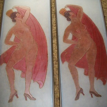 PAIR OF ART DECO NUDE GLASS PANELS