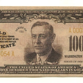 100 thousand bill - US Paper Money
