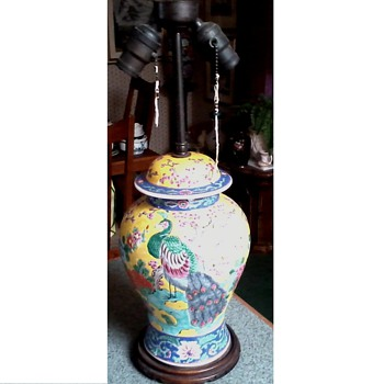 Beautiful Famille Jaune Lamp /Japanese or Chinese ?/ Peacock and Cherry Blossom Design / Circa 1890's-1910