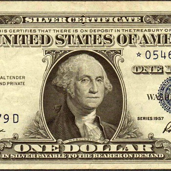 1957 - U.S. $1 Silver Certificate Star Note - US Paper Money