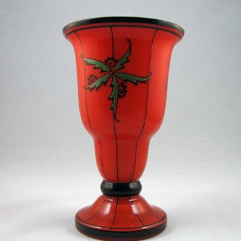 Red Tango vase with enameled design - Art Glass