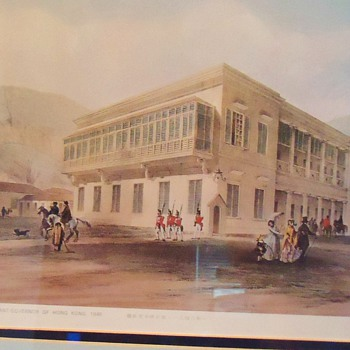 Eng. Print Hong Kong 1846  Lt. Governor&#039;s Residence by M Bruce 11&quot; X 14&quot;