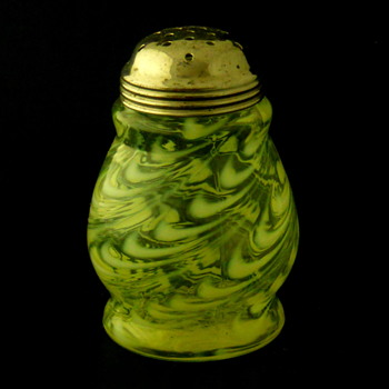 Northwood Blown Twist Vaseline Opalescent Sugar Shaker - Glassware