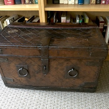 Antique leather covered Indian Trunk - Furniture