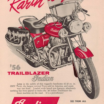 1956 Indian Trail Blazer Motorcycle Advertisement - Advertising