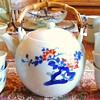 Japanese tea set with bird and flowers,