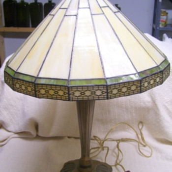 Old Brass Slag Table Lamp - Lamps