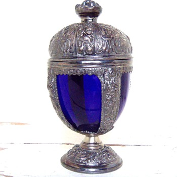 Jennings Brothers Cobalt Blue Glass/Spelter Chalice - Glassware