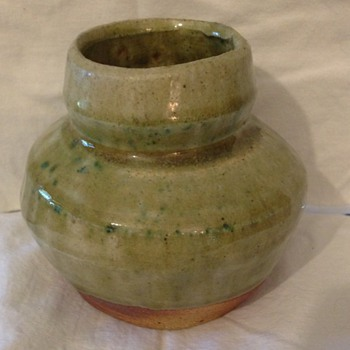 Small green drip glaze jar - Art Pottery