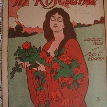 "1904 Signed  Artist Signed(VIVIANE VALPAIRE) Sheet Music in Art Nouveau Style. ""IN ROSELAND""  MAX EUGENE - Music"