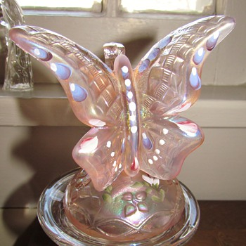 Pink Butterfly Alighting on Branch, Fenton, from AmberRose! : )  - Art Glass