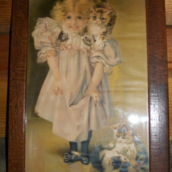 Old picture little girl and kittens - Posters and Prints