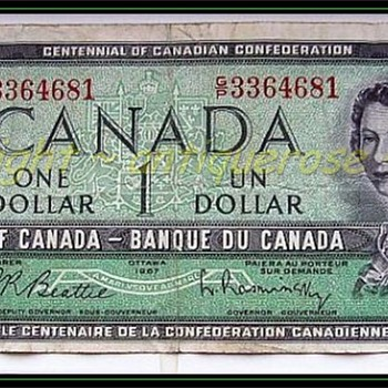 1967 CANADIAN ONE DOLLAR BILL ( with Autograph ) - Music Memorabilia