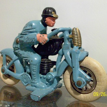 1930's Hubley Harley-Davidson Cast Iron Hillclimber Motorcycle Toy - Motorcycles