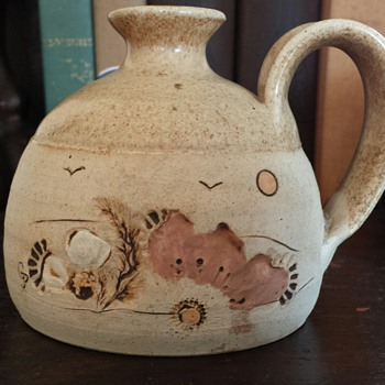 Stoneware jug by Grace J. Pelton - Art Pottery