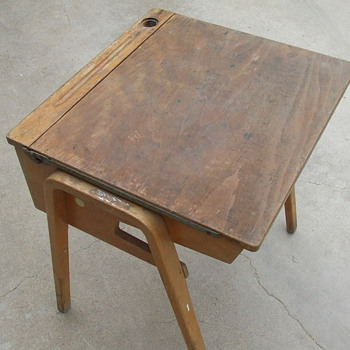 Great Old Wooden School Desk-Complete With Graffiti & Chewing Gum