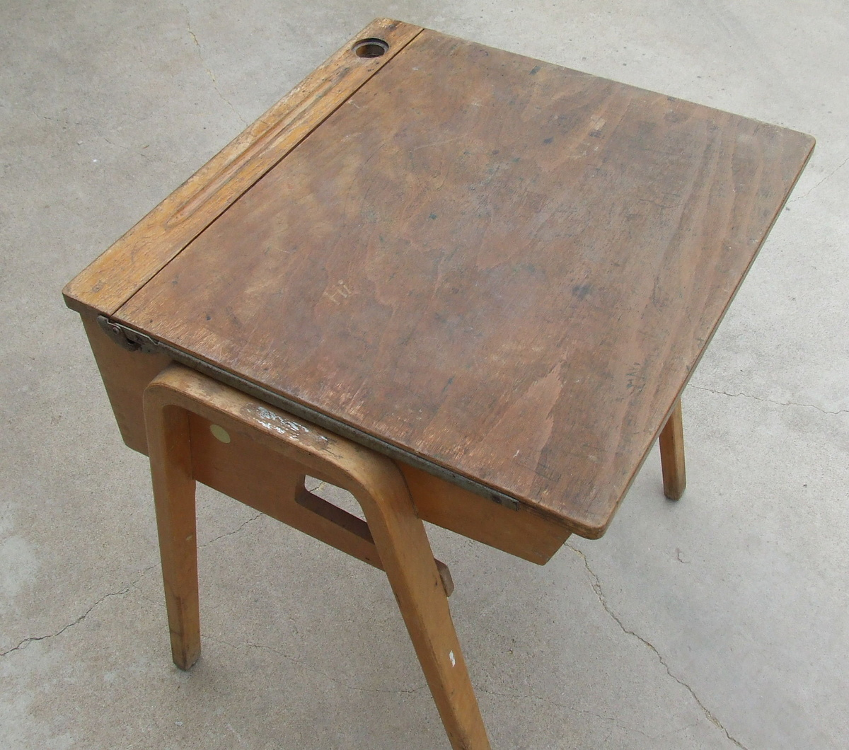 Wooden School Desk ~ Great old wooden school desk complete with graffiti