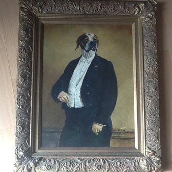 Oil of dog in tuxedo