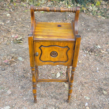 small wood stand with door copper lined