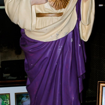 This is my latest amazing thrift store find. A Sacred Heart Christ Statue made by Daprato!