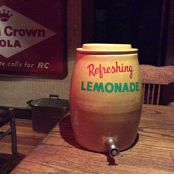 Lemonade crock, 85 year old Rocking horse, Embossed Atlanic copper boiler and McCoy mammy