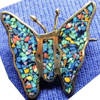 Three Mexican Silver Mosaic butterfly brooches - Fine Jewelry