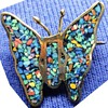 Three Mexican Silver Mosaic butterfly brooches