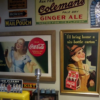 Two Coca Cola cardboard signs from 1940 and 41' now framed!