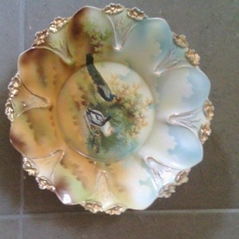 Beautiful Painted bowl...No identification at all on base