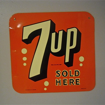 Double sided 7up tin sign