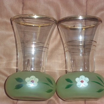 Glass Shot Glasses with frosted green on the bottom - Glassware