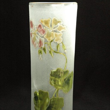 art nouveau enamel glass vase - french or bohemian.  in manner of legras