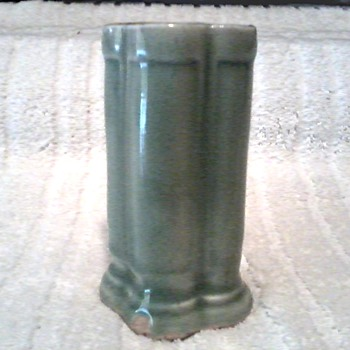 Small Celadon Green Five Sided Column Vase / No mark - Asian