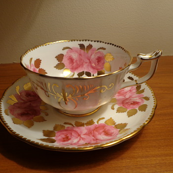 Royal Chelsea Pink Roses Cup and Saucer - China and Dinnerware