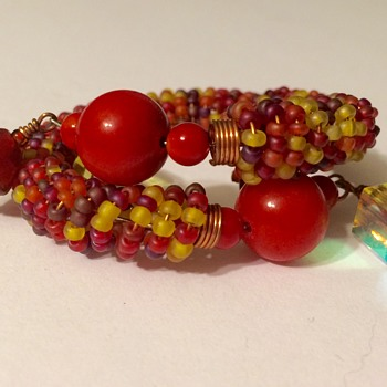 Coral on a beaded copper wire cuff - Costume Jewelry