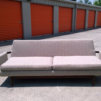 Really coolmid century reupholstered sofa with rosewood arms unknown maker
