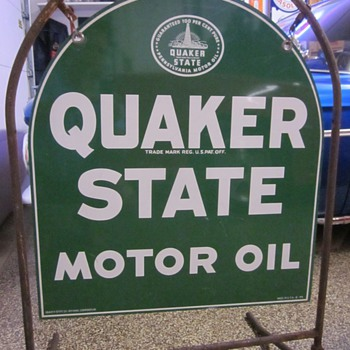 Quaker State Sign With Stand