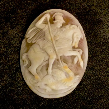 Antique Victorian St. George Slaying Dragon Shell Cameo