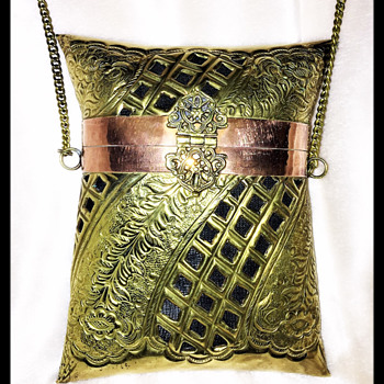 Vintage Copper and Brass Purse from India circa 1970-ish