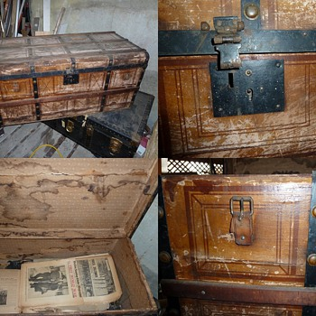 Old stagecoach trunk  - Furniture