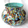 Great Blue Millefiori Spatter Glass Signed Czech Bowl/Vase 'Welz Harlequin'