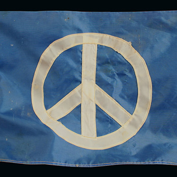 Well used Hand Made vintage Hippie Peace Protest Flag w Provenance - Folk Art